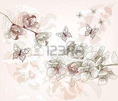 fleur de cerisier: main romantique tirée de carte postale au printemps