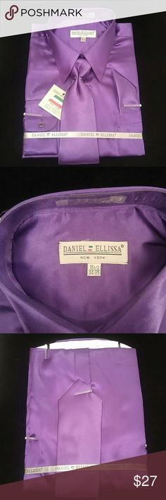 MEN'S DRESS SHIRT PURPLE COMBO PACK BY DANIEL ELLI Combination shirt, tie, pocket square. Regular fit. Brand:DANIEL ELLISSA Style:DS3012 NP2 Purple Material:100% polyester satin rayon New in the bag DANIEL ELLISSA Shirts Dress Shirts