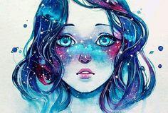 g i r l g a l a x y #purple #blue #dreaming #unicorn #galaxygirl #pinterest #Chica #tumblr #qinniart #pink #dreams #followback #F4F #L4L