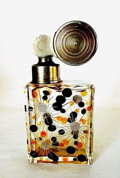 VINTAGE ART DECO ENAMELED CRYSTAL ATOMIZER PERFUME BOTTLE BY ESCALE - FRANCE #Escale