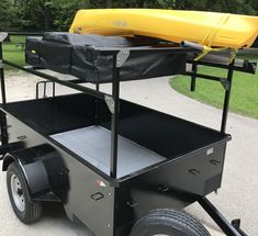 Dennis's DIY No Weld Rack is a nice example of how to carry kayaks over your roof top tent and how to bolt the uprights to the sides of your trailer. Camping Trailer Diy, Kayak Trailer, Off Road Camper Trailer, Jeep Camping, Camper Trailers, Trailer Build, Expedition Trailer, Overland Trailer, Work Trailer