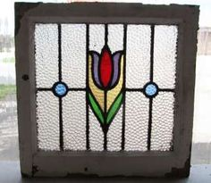 Antique Stained Glass Window Five Color Purple & Ruby Tulip