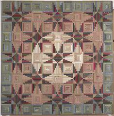 """Sequoia Stars, a Log Cabin quilt original - Judy Martin's Log Cabin Quilt Book, 2007. Designed and pieced by Judy Martin. Quilted by Dawn Cavanaugh. 99"""" x 99""""."""