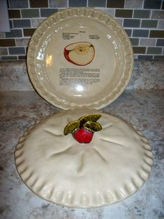 Ceramic Red Cherry Pie Dish / Keeper / Saver /Covered Plate with Lid | Pie dish Pie plate and Kitchenware & Ceramic Red Cherry Pie Dish / Keeper / Saver /Covered Plate with Lid ...