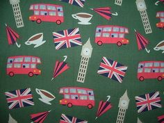British, UK, Cotton Fabric w/ Big Ben, tea, double deck buses!  Cute  BTHY