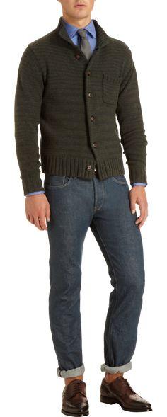 Todd Snyder Mock Neck Button Front Sweater, blue shirt, grey tie, cuffed dark blue jeans, brown brogue bluchers