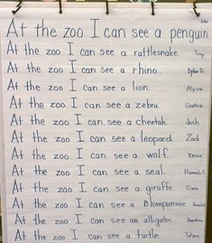 Brainstorm and list animals that can be seen at the zoo. Could also do as a bubble map.