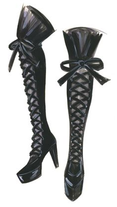 SHOE ILLUSTRATION :: Over The Knee Corset Boots - by Jennifer Lilya