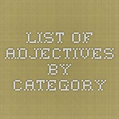Descriptive words by letter of the alphabet descriptive words list list of adjectives by category fandeluxe Choice Image