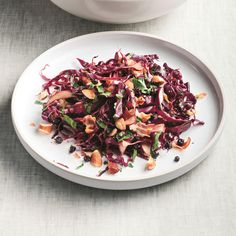 Red Cabbage Salad with Warm Pancetta-Balsamic Dressing