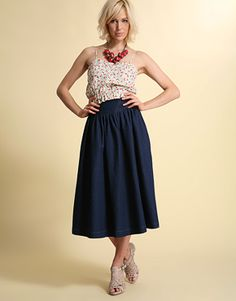Enlarge ASOS Indigo High Waist Denim Full Skirt