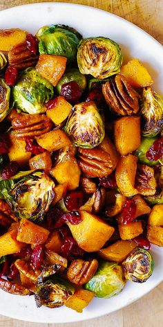Thanksgiving Butternut Squash and Brussels sprouts with Pecans and Cranberries