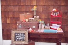 Card / Guestbook table idea... Love the vintage suitcases! I need to make a trip to the flea market,