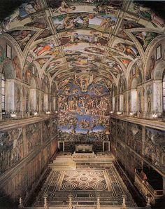 Sistine Chapel ceiling and altar wall frescoes. Vatican City, Italy. Michelangelo. Ceiling frescoes: c. 1508–1512 C.E.; altar frescoes: c. 1536–1541 C.E. Fresco.