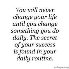 This could not be more true! I recently read in #TheCompoundEffect how changing up one thing a day might not seem like much now, but in the long run you will see big changes! Make them positive changes! #Change #SecretToSuccess #DailyRoutine #Yoga #Run #Walk #Motivation