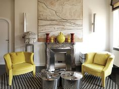 Tommaso Ziffer interior designer and architect. Works and projects. Room Interior Design, Kitchen Cabinets, Mirror Furniture, Yellow Painting, Table, Projects, Armchairs, Living Rooms, Rome