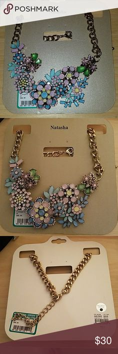 Natasha Statement Necklace floral New $88 Natasha floral statement necklace absolutely beautiful nice and heavy with adjustable length only missing one tiny tiny Stone not even noticeable see last picture. Brand is Natasha not J.Crew but there was no category to lost under Natasha. J. Crew Jewelry Necklaces