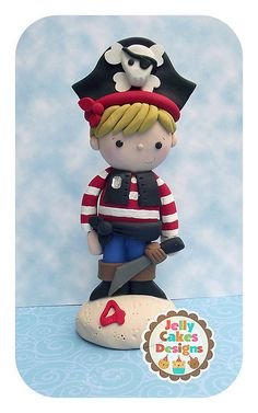 Little Pirate Boy cake topper by Jelly Cakes Designs
