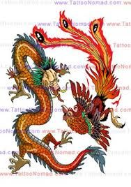 Chinese Dragon Vs Phoenix Tattoo Design