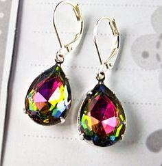 Looks like it's going to be a rainbow wedding!    Earrings, Rainbow, Vitrail Volcano Glass Rhinestone Earrings, Silver Plated Leverbacks, Rainbow Earrings, Gift Idea, Prom, Weddings, Party. $16.95, via Etsy.