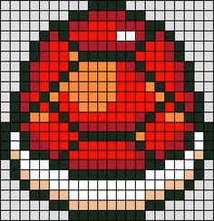 Patron / Pattern : Carapace Rouge Super Mario NINTENDO en Perle HAMA (Mini)    Taille de la grille 22 x 22 (soit environ  5,5 x 5,5 cm)    Nombre de perles totales : 366 (sans le fond, que la carapace)