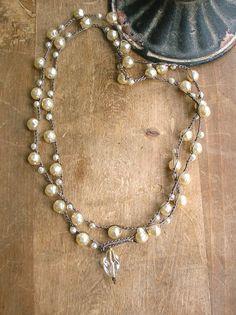 Pearl wrap necklace  Gigi  crochet necklace Boho by 3DivasStudio, $52.00