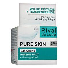 """Rival de Loop Pure Skin 24h Creme """"Unreine Haut"""" >mit unerlaubtem konservierungsmittel> Das Hautbild erscheint verfeinert und ebenmäßiger, die Haut wirkt vitalisiert und ist intensiv mit Feuchtigkeit versorgt.      mattierende Anti-Aging Pflege     für unreine Haut     + Ginsengextrakt     + Wilde Pistazie     + Traubenkernöl     pH-hautneutral     Hautverträglichkeit dermatologisch bestätigt"""