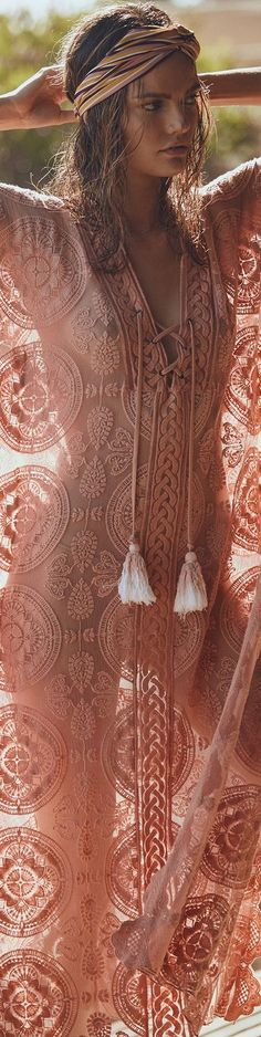 Peach Summer Dress - Boho Summer Style