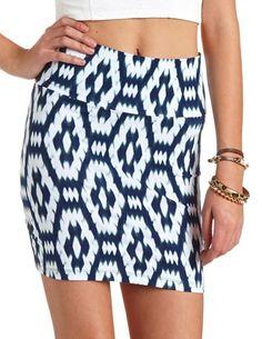 Blurred Ikat Mini Skirt: Charlotte Russe