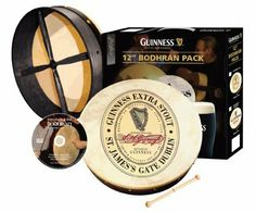 """12"""" Guinness Oval Bodhran Pack by Guinness. $69.95. The Waltons 12"""" Bodhran Pack includes Bodhran,Instructional DVD and beater for complete beginners.     Beginners Guide to The Bodhran DVD by Conor Long  A perfect teaching DVD for bodhran beginners. Learn to play your first basic strokes and accompany tunes. It's easier than you think! From holding the instrument and beater to reels and jigs, triplets, dampening, rimshots and more, Conor Long shows you everything step-by-s..."""