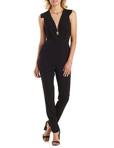 Plunging Open Back Jumpsuit: Charlotte Russe
