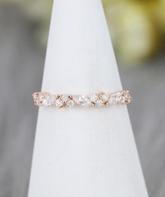 Marquise cut Moissanite wedding band Vintage Rose gold wedding band women Unique Half eternity Matching Stacking Bridal Promise gift for her – Trend Wedding Ideas 2020 Vintage Diamond Wedding Bands, Vintage Rose Gold, Curved Wedding Band, White Gold Wedding Bands, Unique Wedding Bands, Vintage Roses, Anniversary Gift For Her, Rose Gold Engagement Ring, Wedding Trends