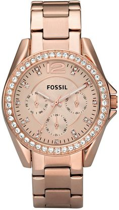 Fossil Women's Riley Rose Gold Plated Stainless Steel Bracelet Watch 38mm ES2811