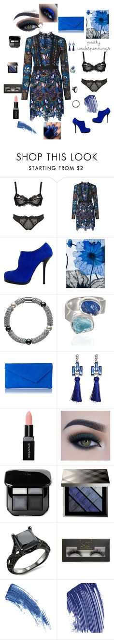 """""""Something Blue"""" by papillon825 ❤ liked on Polyvore featuring self-portrait, Balenciaga, Grandin Road, Links of London, Poppy Jewellery, L.K.Bennett, Smashbox, Too Faced Cosmetics, Burberry and Boohoo"""
