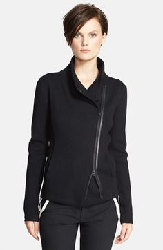 Vince's heavy merino wool Scuba sweater jacket is very warm and comfy.  The asymmetrical tailored fit works great with slim or baggy pants.  If you wear size Medium in the Scuba leather jacket, go down 2 sizes if you want this fitted looked.  If you're looking for something to layer under a light rain jacket, this is it.