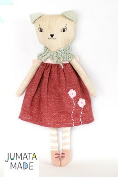 "Linen cat rag doll - stuffed cat doll is 16"" (40 cm) high. Soft fabric cat toy is homemade. Adorable eco friendly toy for girl or cat lover, heirloom doll. Soft kitty doll is great as kids room decor."