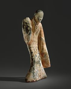 From The Metropolitan Museum of Art, Unknown Chinese, Female Dancer (西漢 彩繪陶舞俑) century B.), Earthenware with slip and pigment, 21 × 9 × 7 in Terracota, Ancient China, Ancient Art, Chinese Artwork, Chinese Painting, Female Dancers, Oriental, China Art, Chinese Culture
