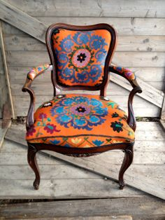 tangerine and turquoise Bohemian chair