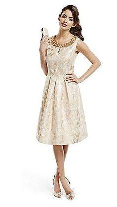 No. 1 Jenny Packham - Designer gold jacquard embellished neck prom dress