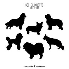 set of profile dog silhouettes free vector