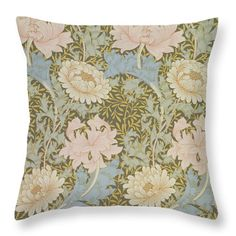 "Chrysanthemum Wallpaper Throw Pillow (14"" x 14"") by William Morris.  Our throw pillows are made from 100% cotton fabric and add a stylish statement to any room.  Pillows are available in sizes from 14"" x 14"" up to 26"" x 26"".  Each pillow is printed on both sides (same image) and includes a concealed zipper for easy cleaning. Also carry shower curtain and duvet cover in same print."