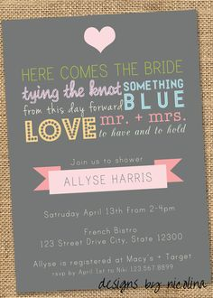 Vintage Typography Poster Style - Bridal Shower PRINTABLE Invitations