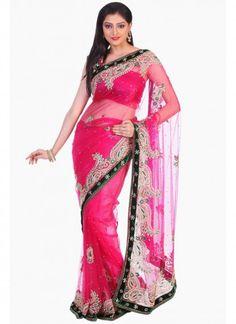 Ravishing Hot Pink #Net #Embroidered #Saree
