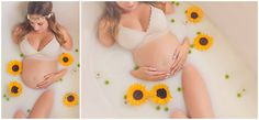 pregnancy milk bath with flowers by natalie daoust photography