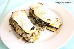 Een gezonde versie op de aubergine moussaka. Deze keer zonder bechamelsaus, maar toch een romig effect door de ricotta en parmezaan. Lekker en gezond recept.