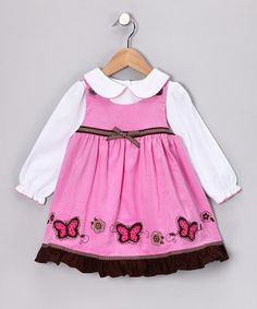 Take a look at this Mauve Butterfly Jumper & White Top - Toddler & Girls by Dressed So Sweetly Collection on #zulily today!