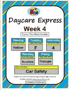 Daycare Curriculum, Daycare Crafts, $4 per week M-F planned out for you, Color yellow craft, letter F craft, number 4 craft, sunshine craft, triangle craft, Topic of the week car safety craft, Preschool Craft