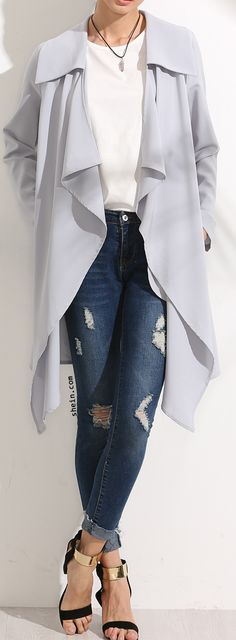 Grey Lapel Long Sleeve Outerwear