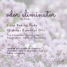 Over 50 uses for dōTERRA Lavender Essential Oil -- Use this safe, natural cleaning solution -- non-toxic ingredients of baking soda, lavender, eucalyptus, peppermint, clove and rosemary essential oils can be used to freshen carpet and mattresses. diy do it yourself recipes