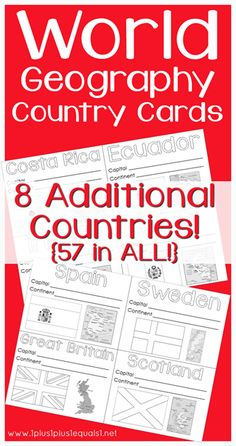 World Geography Country Card Printables ~ Free cards for 57 different countries!